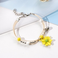 Ceramic Beaded Multilayer Daisy Flower Bracelet Wholesale Yellow