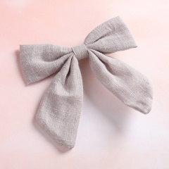 Pure Color Simple Dovetail Bow Girl's Hairpin Gray