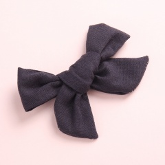Fashion Pure Color Simple Girl's Bow Hairpin Headwear Wholesale Black