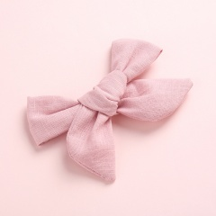 Fashion Pure Color Simple Girl's Bow Hairpin Headwear Wholesale Deep leather pink