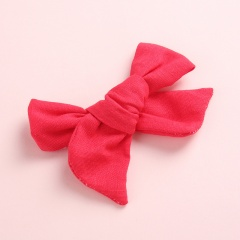 Fashion Pure Color Simple Girl's Bow Hairpin Headwear Wholesale Red