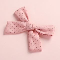 Fashion Multicolor Floral Polka Dot Print Twill Bow Hairpin Pink dots