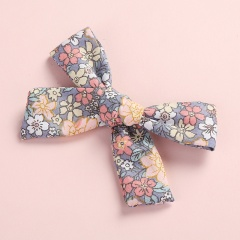 Fashion Multicolor Floral Polka Dot Print Twill Bow Hairpin Purple floral