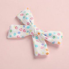 Fashion Multicolor Floral Polka Dot Print Twill Bow Hairpin White dots