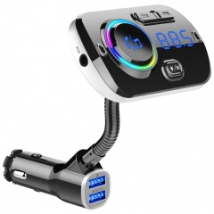 Fast Charging Car Bluetooth Mp3 Hands-Free Phone Player Ambient Light Black