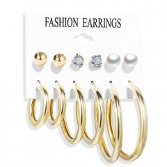 6 Pairs/Set Gold Silver Heart Hoop Statement Earring Set Wholesale Circle-Gold