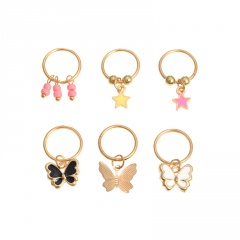 6 Pieces/Set Butterfly DIY Hair Ornaments Hairpin Pigtail Headdress Beads+butterfly+star