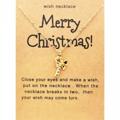 Santa Claus Christmas Series Gold Wishing Paper Card Necklace Candy