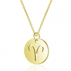 12 Constellation Gold Simple Hollow Clavicle Chain Necklace Jewelry Aries