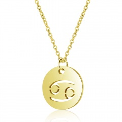 12 Constellation Gold Simple Hollow Clavicle Chain Necklace Jewelry Cancer