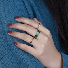 3 Piece/Set Open Finger Ring Chain Spiral Combination Rings Green