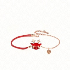 Christmas Series Red Rope Elk Gold Chain Bracelet Wholesale A