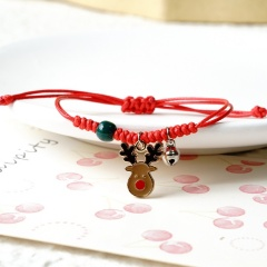 Christmas Jewlery Red Rope Handmade Adjustable Bracelets Brown Elk