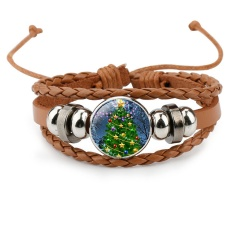 Multilayer Colorful Leather Christmas Bracelets Wholesale Brown