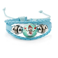 Multilayer Colorful Leather Christmas Bracelets Wholesale Blue