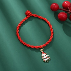 Red Rope Christmas Series Dangle Adjustable Bracelet Wholesale Tree-White
