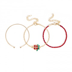 3 Pieces/Set Red Rope Gold Chain Bracelet Set Wholesale Gift