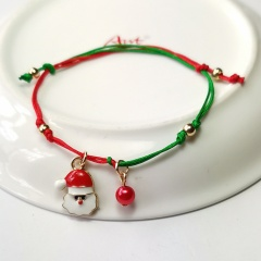 Green and Red Rope Christmas Series Dangle Adjustable Bracelets Santa Claus