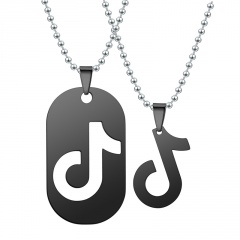Gold Silver Stainless Steel Musical Pendant Necklace Wholesale Couple