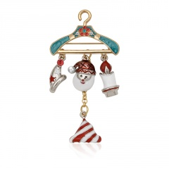 Gold Fashion Dangle Sweet Christmas Brooches Wholesale Hat