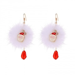 Santa Claus Deer White Pompoms Red Crystal Christmas Earrings Santa Claus