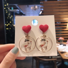 Christmas Circle White Elk Dangle Stud Earrings Jewelry Wholesale Heart Fawn