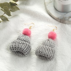 Hand-woven Christmas Woolen Hat Dangle Earrings Gray