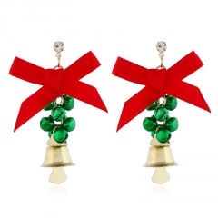 Christmas Series Bow Bell Earrings Jewelry Wholesale Green