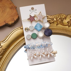 5 Pieces/Set Geometric Pearl Star Flower HairClip Hairpins A