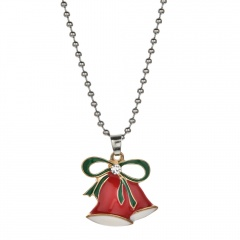 Christmas Series Cute Pendant Beads Chain Necklace Jewelry Bell