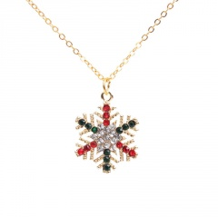 Multicolor Crystal Snow Pendant Necklace Christmas Jewelry Snow-B