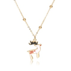 Multilayer Gold Chain Christmas Series Pendant Necklace Wholesale Elk