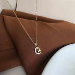Simple Gold Silver Rhinestone Fawn Chain Pendant Necklace Gold