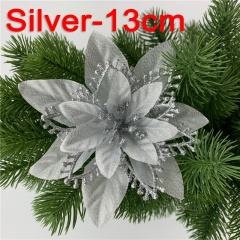 Multi-layer Three-dimensional Simulation Flower Christmas Tree Decoration Silver