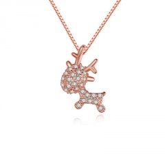 Shinning Crystal Simple Fawn Pendant Chain Necklace Wholesale Rose Gold