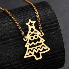 Christmas Tree Stainless Steel Chain Necklace Wholesale Gold