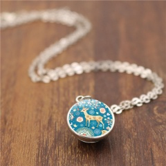 Christmas Elk Double Sided Glass Ball Pendant Chain Necklace Silver