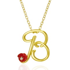 Red Rose Gold English Alphabet Pendant Chain Necklace B