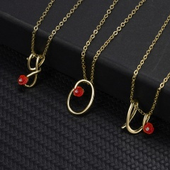 Red Rose Gold English Alphabet Pendant Chain Necklace W