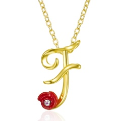 Red Rose Gold English Alphabet Pendant Chain Necklace F