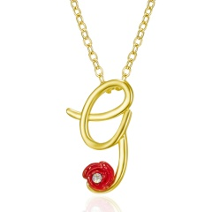 Red Rose Gold English Alphabet Pendant Chain Necklace G