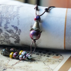 Ethnic Beaded Ceramic Sweater Long Chain Necklace Wholesale Purple