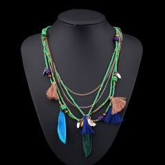 Fashion Multilayer Rice Small Beads Women's Long Necklace Green