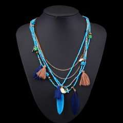 Fashion Multilayer Rice Small Beads Women's Long Necklace Blue
