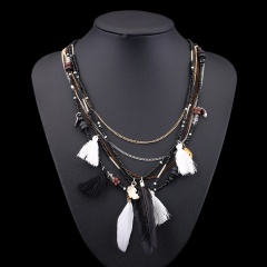Fashion Multilayer Rice Small Beads Women's Long Necklace Black