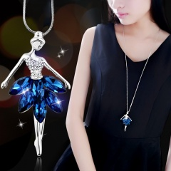 Silver Pearl Sweater Long Necklace Wholesale Dance Girl