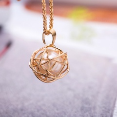 Round Circle Pearl Long Chain Necklace Jewelry Wholesale Gold