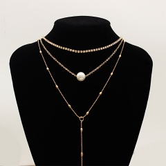 Multilayer Crystal Pearl Necklace Jewelry Wholesale Gold