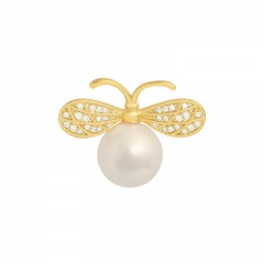 Gold Pearl Rhinestone Small Bee Pins Brooches Jewelry Bee