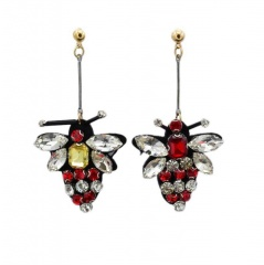 Multicolor Crystal Small Bee Dangle Earring Red